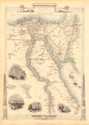 EGYPT/ARABIA PETRAEA. Cairo/Alexandria views.Nile valley. RAPKIN/TALLIS 1851 map
