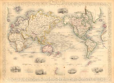 BRITISH EMPIRE. Shows steam routes to the colonies.World. RAPKIN/TALLIS 1851 map