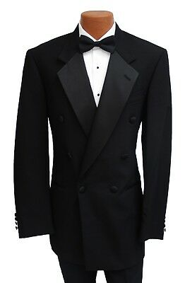 Mens Black Perry Ellis 100% Wool Double Breasted Tuxedo Jacket Made in USA