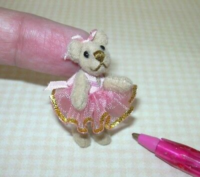 Miniature TAN Ballerina Bear in PINK, Jointed: DOLLHOUSE Miniatures 1/12 Scale