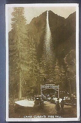 1937 real photo postcard...CAMP CURRY FIRE FALL @ Yosemite...over 80 years ago