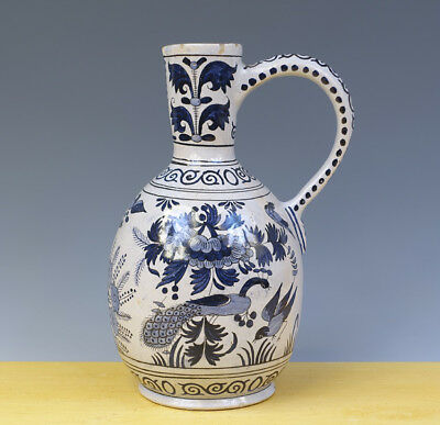 Antique Large Dutch Delft Jug Peacocks & Flowers 19TH C. Marked