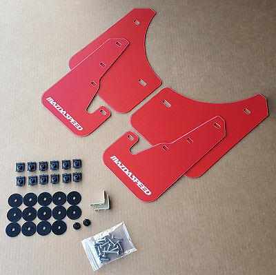 [SR] 04-09 Mazdaspeed 3 & Mazda 3 Mud Flaps Kit RED w/ Hardware Set & Vinyl Logo