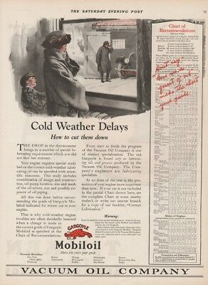1923 Gargoyle Mobiloil Mobil Vacuum Oil Co Vintage 1920s Cold Weather Delays Ad