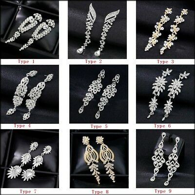 Luxury Women Earrings Shiny Rhinestone Dangle Drop Elegant Wedding Bride Jewelry