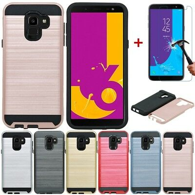For Samsung Galaxy J6 A6 J4 Plus 2018 Hybrid Shockproof Hard Case Cover+Glass