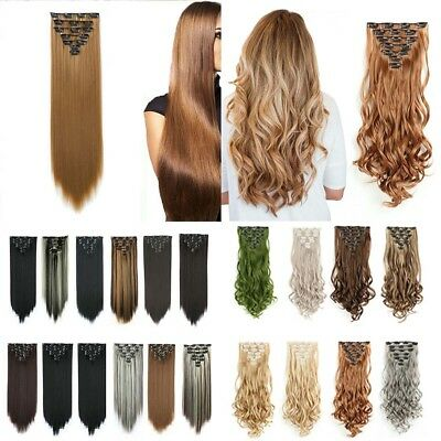 Real Long 100% Natural Extensions Clip in Hair Extention Full Head Human 22""