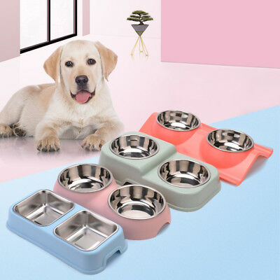 Pet Feeding Bowl Stainless Steel Double Dog Cat Food Water Dish Puppy Feeder