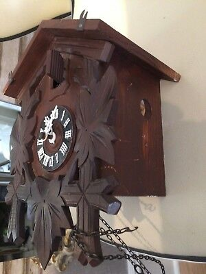 Black Forest Cuckoo Clock Carved Detail antique