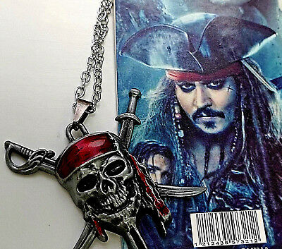 Pirates of the Caribbean Silver Skull Bones Pendant Captain Jack Sparrow Disney