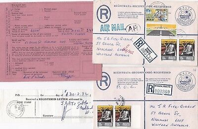 # 1982 x 2 MALTA REGISTERED ENVELOPES ADVICE OF RECEIPT & POSTED OUT OF COURSE