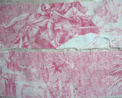 SUMMER CLEAROUT, 2 EARLY 19th CENTURY FRAGMENTS FRENCH TOILE DE JOUY , REF 241.