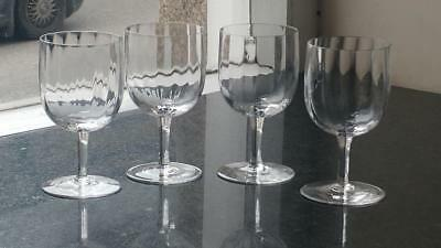 Set of 4 Art Nouveau Fluted Wine Glasses C 1890+