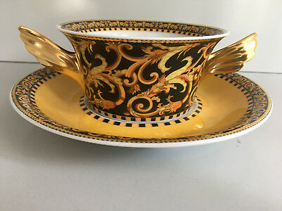 Rosenthal meets VERSACE Barocco CREAM SOUP CUP and Saucer  New