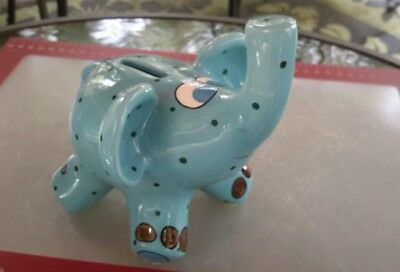 "Elephant Piggy Bank Greenish Blue Polka dot 6"" Tall Ceramic Preowned"