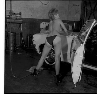 Lqqk Vintage Original Negative Pin-Up Posing In Garage With Vintage Mustang