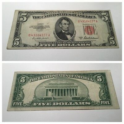 Vintage $5 1953-A United States Note Lincoln Red Seal Usn Two Dollar Bill