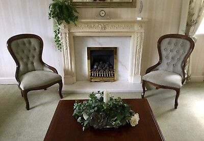 Pair Of Balloon-Back Mahogany & Velour Nursing Chairs. Immaculate Mint Green S36