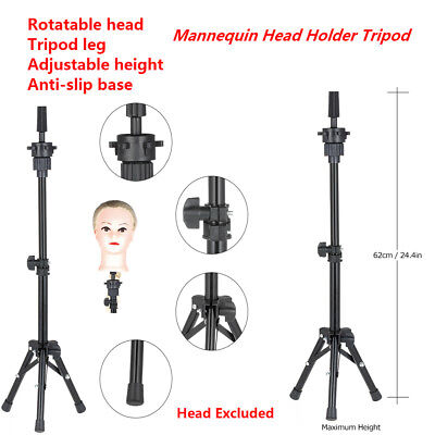 Adjustable Mannequin Head Tripod Hairdressing Training Head Holder Stand H6U7