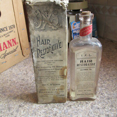 Chicago, Ill. I.X. L. Hair Restorative bottle w/ label & box - opened