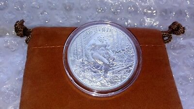 High Relief BIGFOOT 1oz Fine Silver .999 Sasquatch with Capsule & Coin Pouch