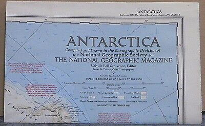 Vintage 1957 National Geographic Map of Antarctica w/Descriptive Notes