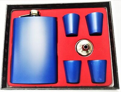 PU Leather Stainless Steel Hip Flask Gift Set with 4 Shots Glass and Funnel