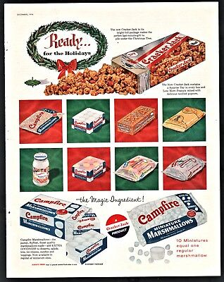 1956 CRACKER JACK and Campfire Marshmallows Christmas Vintage Food AD