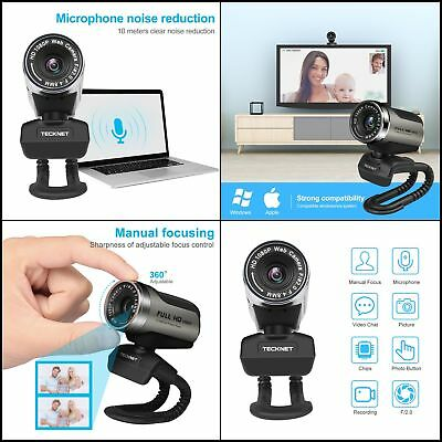 HD Webcam Tecknet 1080P Plug-and-Play-Webkamera Noise-Cancelling Audio Webcam