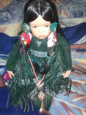 """Timeless Collection Native American Indian Doll Limit Porcelain 14"""" # 2477/2500"""