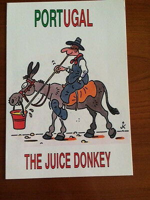 Vintage COMIC Postcard from PORTUGAL - THE JUICE DONKEY - free USA shipping