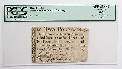 1771 North Carolina Colonial Currency 2 Pound Note PCGS 50