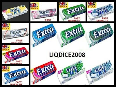 10 PACKS Wrigleys EXTRA Chewing Gum - ICE BREEZE, PEPPERMINT, STRAWBERRY ETC