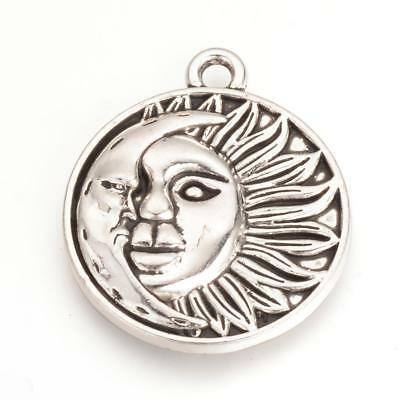 2 Moon and sun pendants antique silver tone M56
