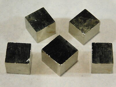 Lot of FIVE! Nice AAA 100% Natural  PYRITE Crystal Cubes! Found in Spain 43.1gr