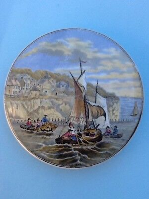 Pegwell Bay Lobster Fishing Prattware Pot Lid Super Condition