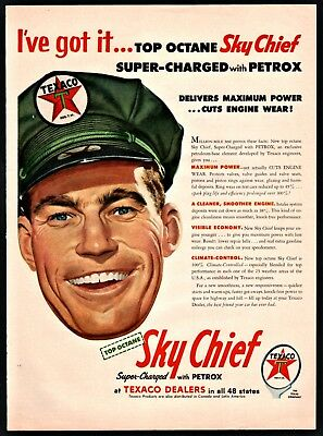 1954 TEXACO Smiling Gas Station Attendant Dealer  Sky Chief Gasoline AD