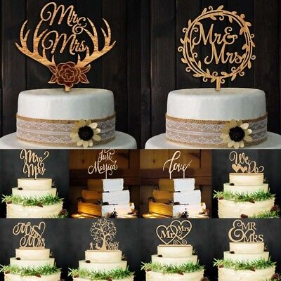 Rustic Wedding Party Birthday Wooden Letter Cake Topper Anniversary Decoration