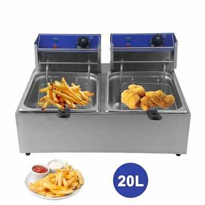 20L Commercial Electric Deep Fryer Frying Double Basket Chip Cooker Fry 0@