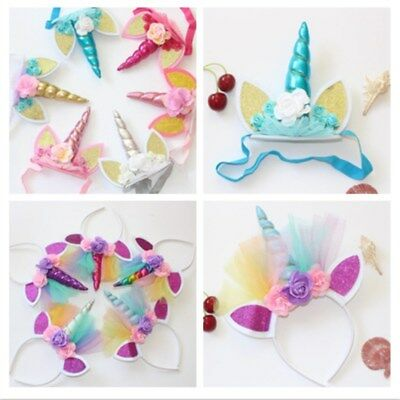 Kids Girl Flower Unicorn Horn Head Hair Band Headband Party Birthday Halloween