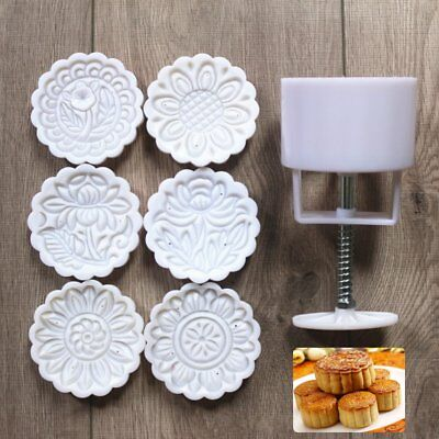 150g 6 Flower Stamps Mooncake Mold DIY Round Moon Cake Mould Baking Decor Tool