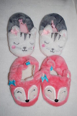 Baby Girls 2 PAIR LOT SLIPPERS Cute Animals PINK FOX w/ BOWS Kitty Cat SIZE 6
