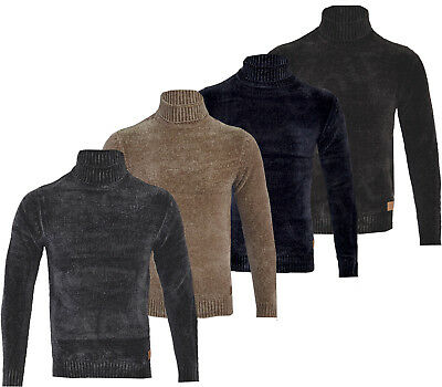 Mens Chenille Roll Turtle Polo Funnel Neck Jumper Knitted Winter Top S-XXL