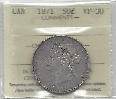 **1871** ICCS Graded Canadian, Fifty-Cent Coin **VF-30**