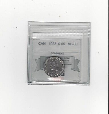 **1923**, Coin Mart Graded Canadian, Five Cent, **VF-30**
