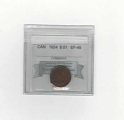 **1924**, Coin Mart Graded Canadian, Small One Cent, **EF-45**