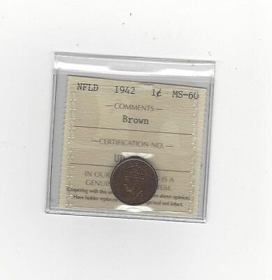 **1942**, ICCS Graded Newfoundland, 1 Cent, **MS-60**