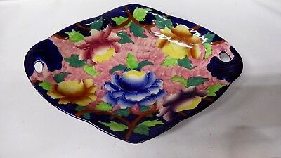 Maling Pottery Ceramic China Plate Floral Cobalt Blue Glaze