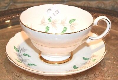 Vintage 1920's- 40's CROWN STAFFORDSHIRE GRAPES Cup & Saucer Set GREEN GRAPES