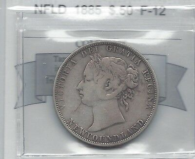 **1885**,Coin Mart Graded, Newfoundland Fifty Cent, **F-12**